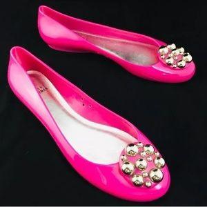 Stuart Weitzman Pink Flats Metal Ball Floral 9 M